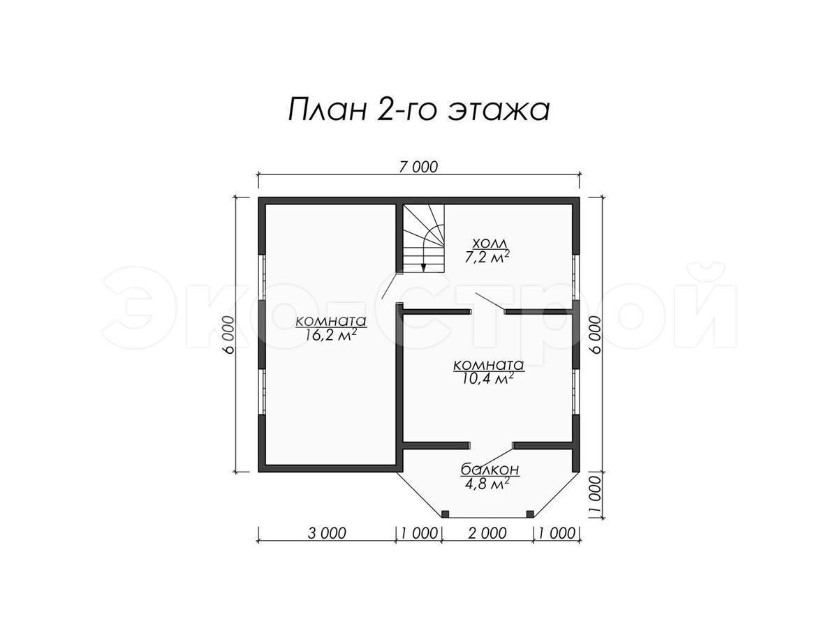 Дом из бруса ДУ 012 план 2 эт