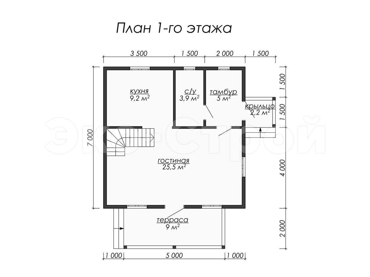 Дом из бруса ДУ 014 план 1 эт
