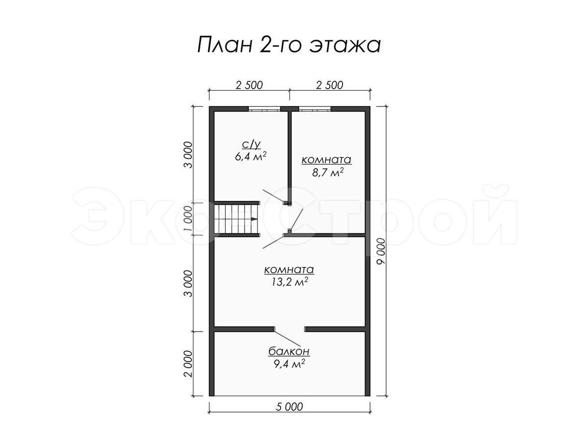 Дом из бруса ДУ 014 план 2 эт