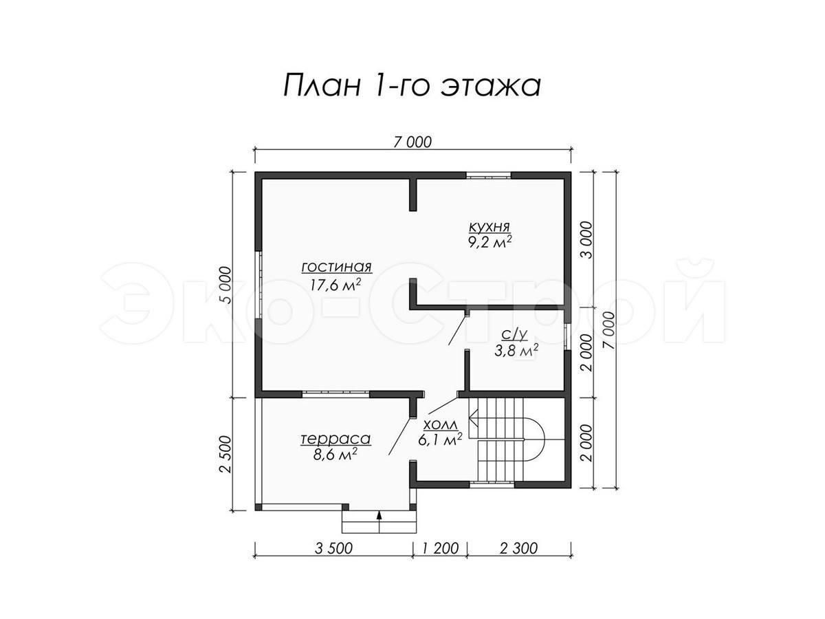 Дом из бруса ДУ 015 план 1 эт
