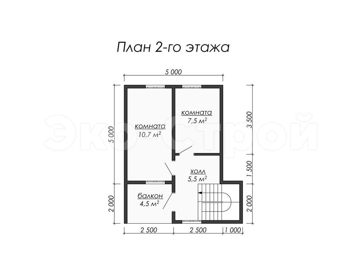 Дом из бруса ДУ 015 план 2 эт