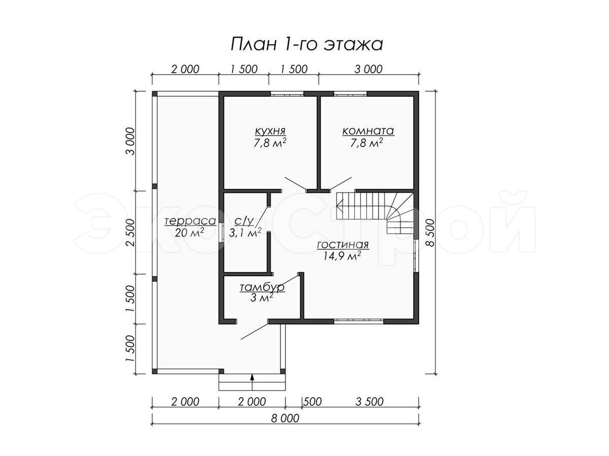 Дом из бруса ДУ 016 план 1 эт