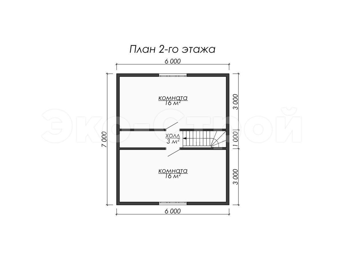 Дом из бруса ДУ 016 план 2 зт