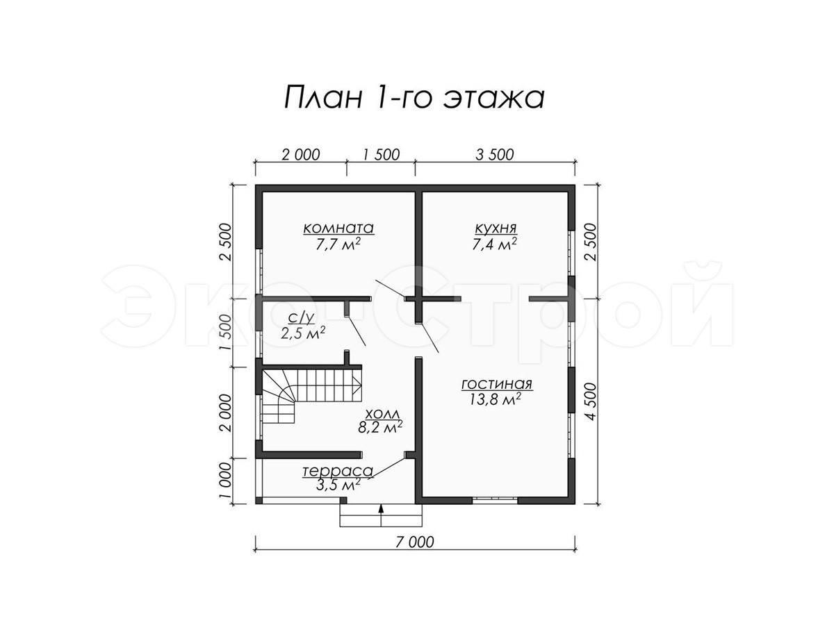 Дом из бруса ДУ 017 план 1 эт
