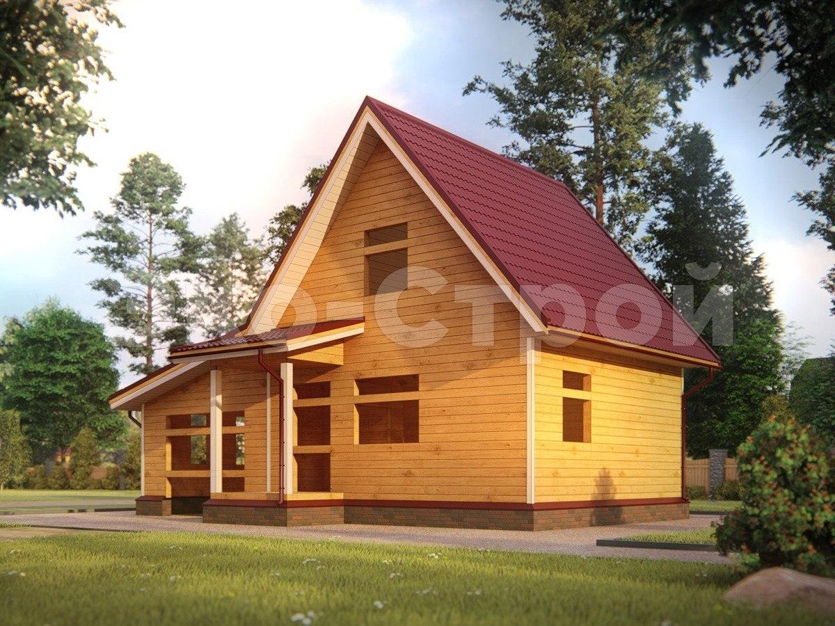Дом из бруса ДУ 018 под усадку вид 2