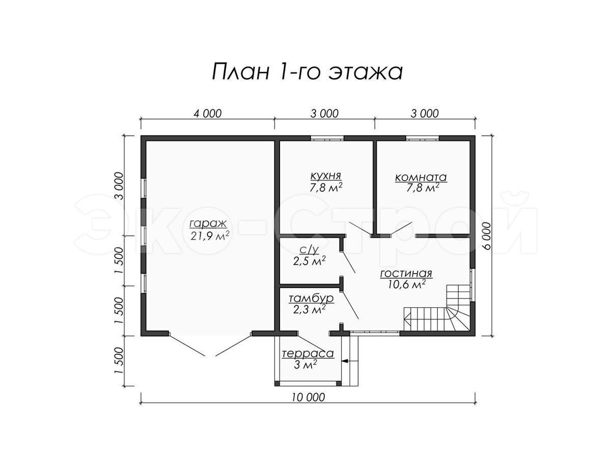 Дом из бруса ДУ 018 план 1 эт