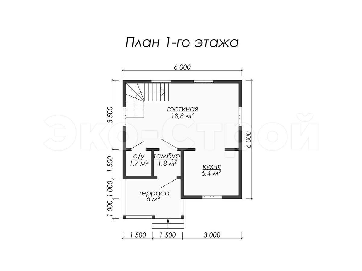 Дом из бруса ДУ 019 план 1 эт