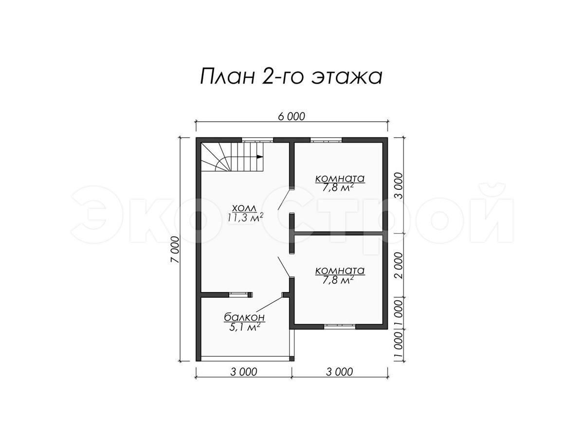 Дом из бруса ДУ 019 план 2 эт