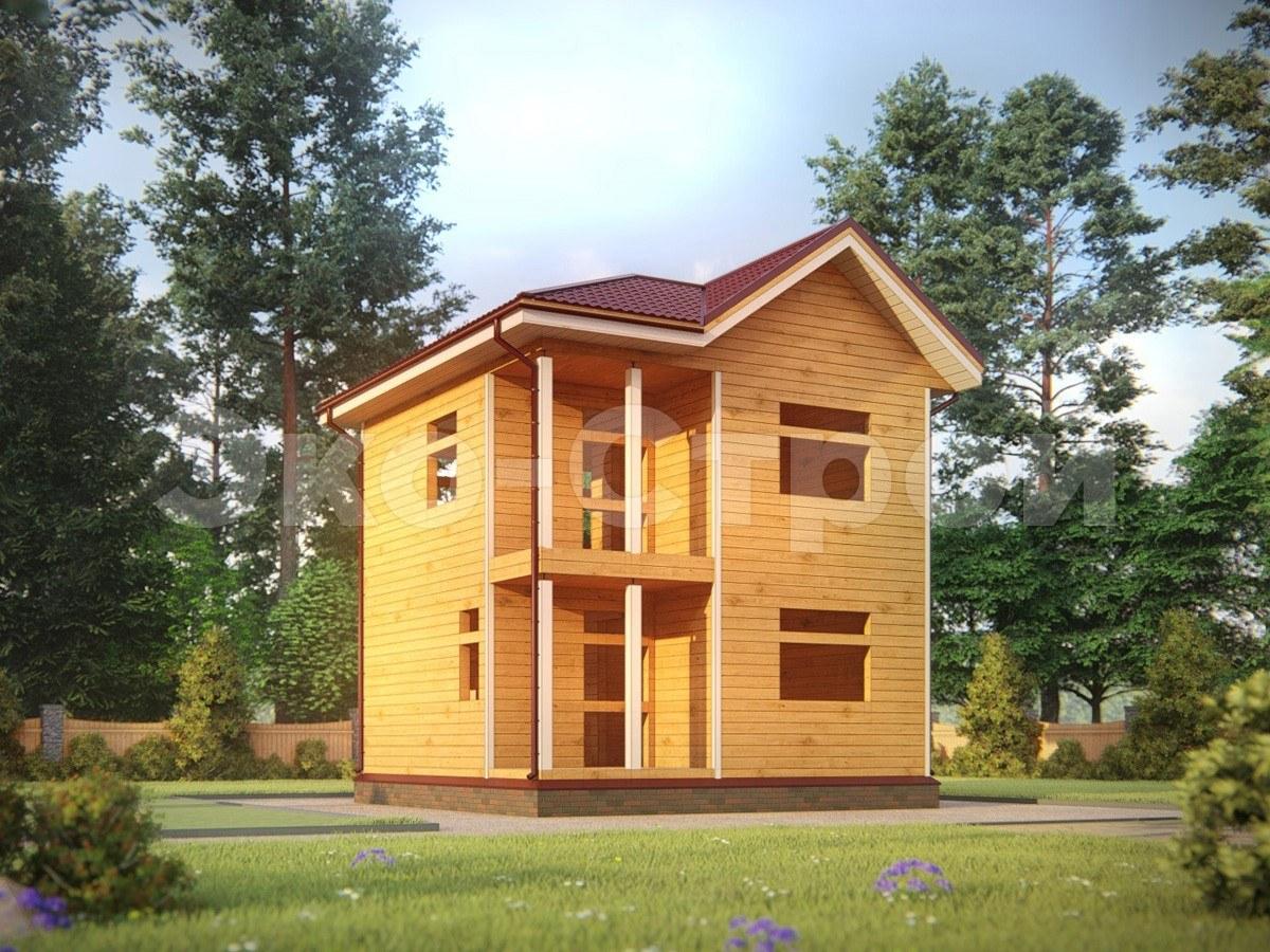 Дом из бруса ДУ 020 под усадку вид 2