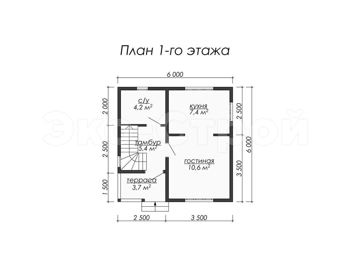Дом из бруса ДУ 020 план 1 эт