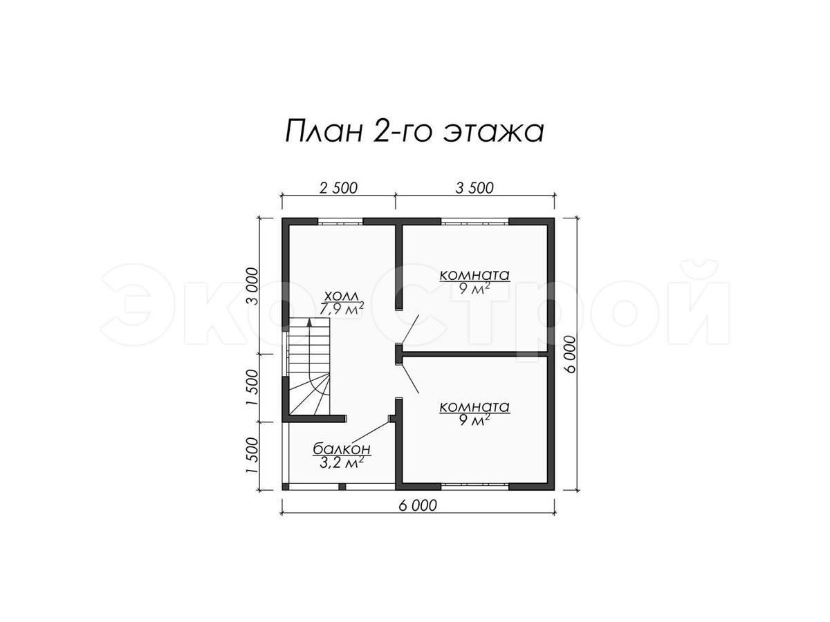 Дом из бруса ДУ 020 план 2 эт