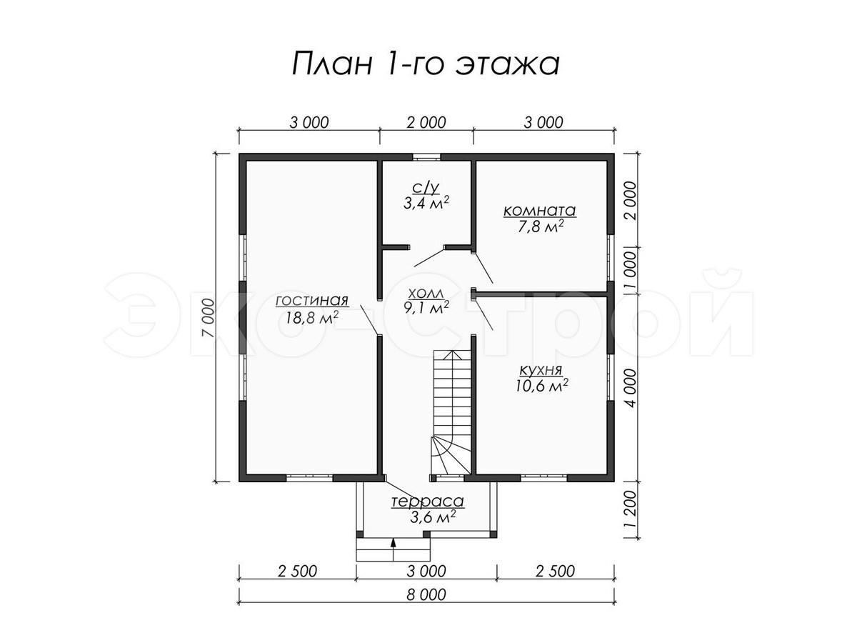Дом из бруса ДУ 021 план 1 эт