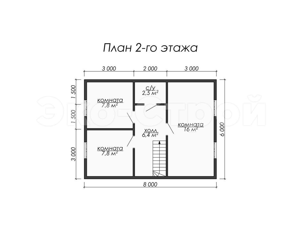 Дом из бруса ДУ 021 план 2 эт