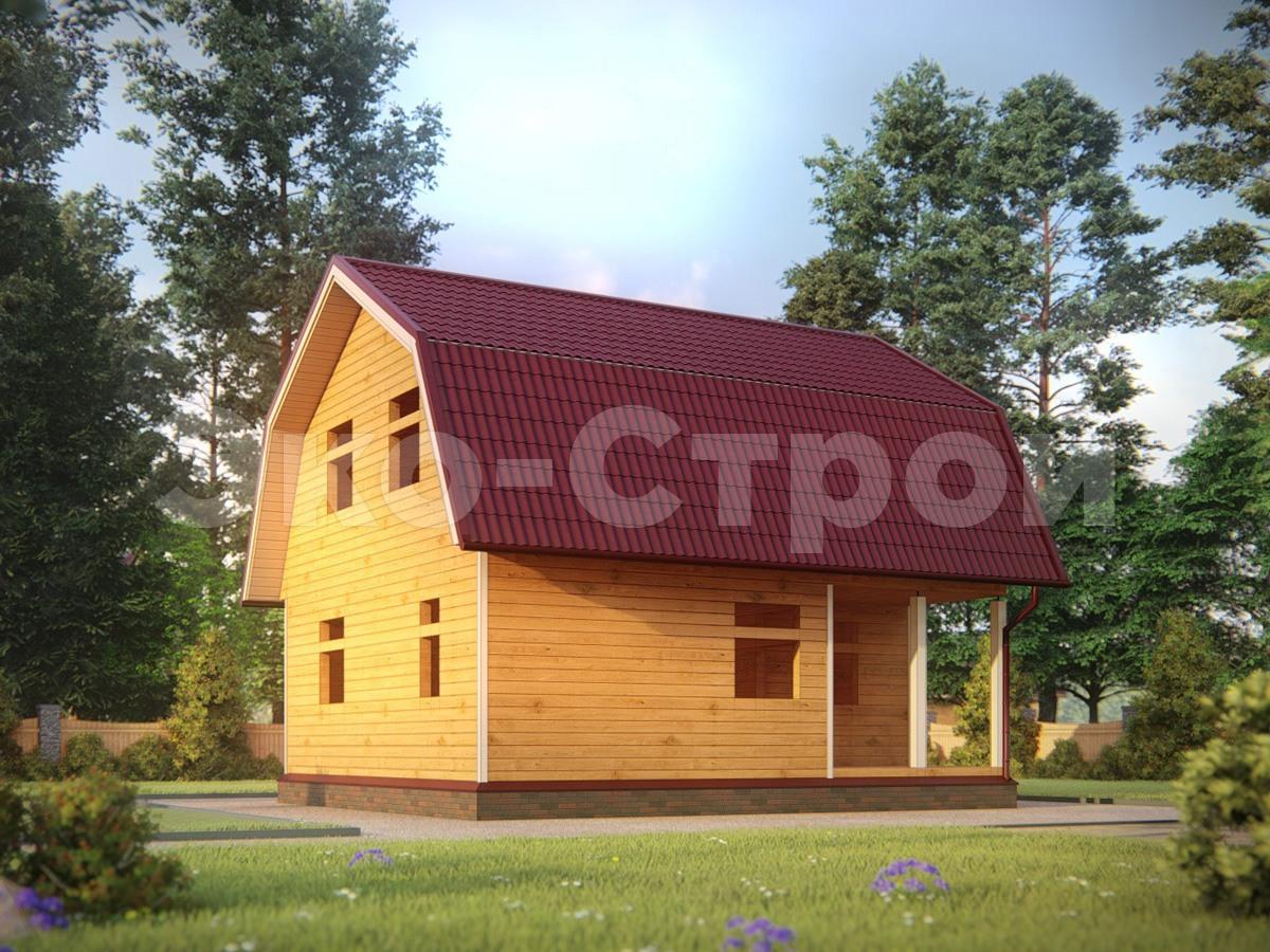 Дом из бруса ДУ 022 под усадку вид 2