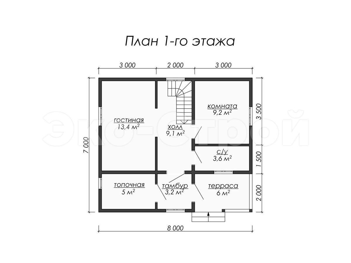 Дом из бруса ДУ 022 план 1 эт