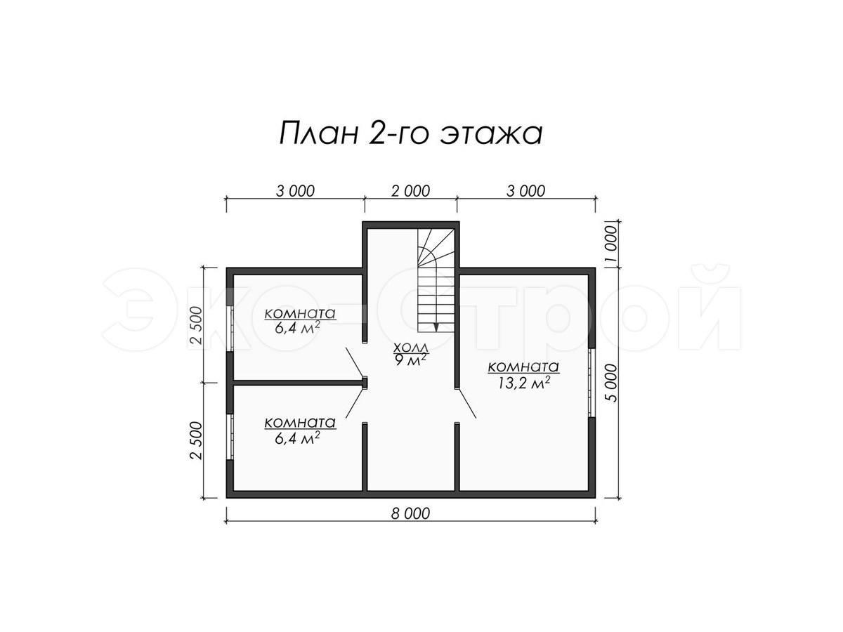 Дом из бруса ДУ 022 план 2 эт
