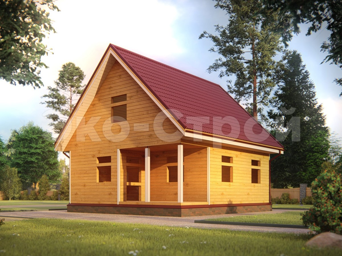 Дом из бруса ДУ 024 под усадку вид 2