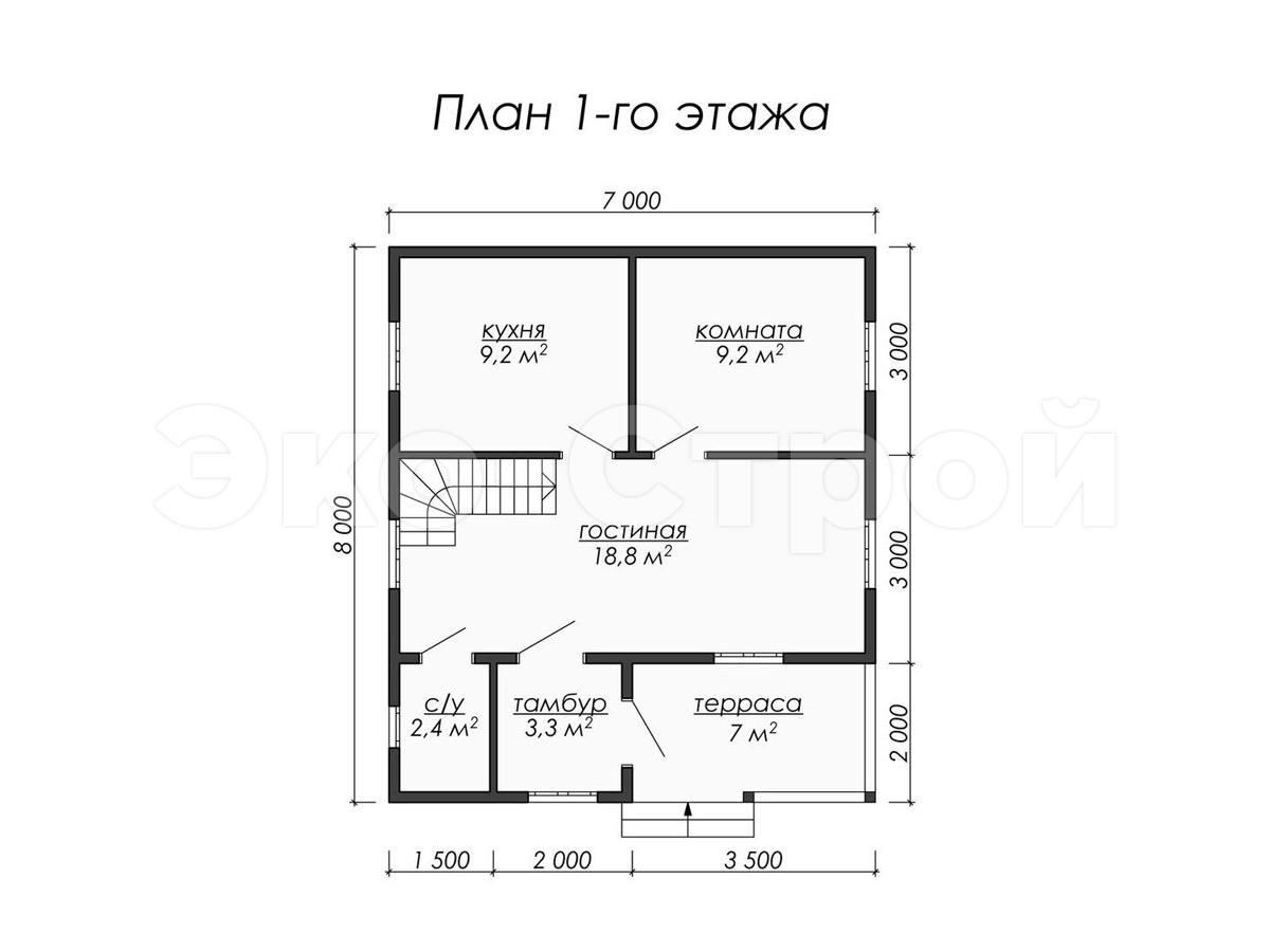 Дом из бруса ДУ 024 план 1 эт