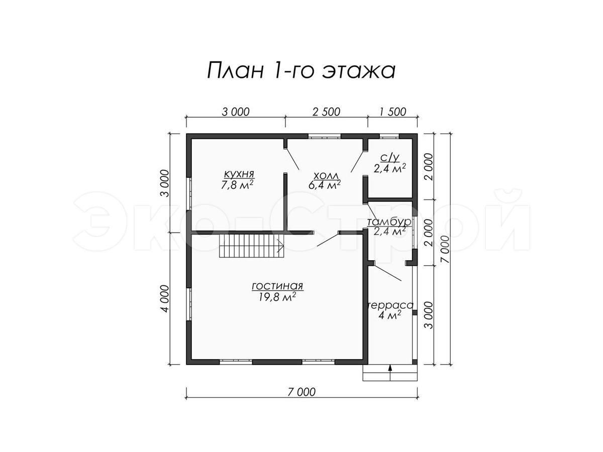 Дом из бруса ДБ 026 план 1эт
