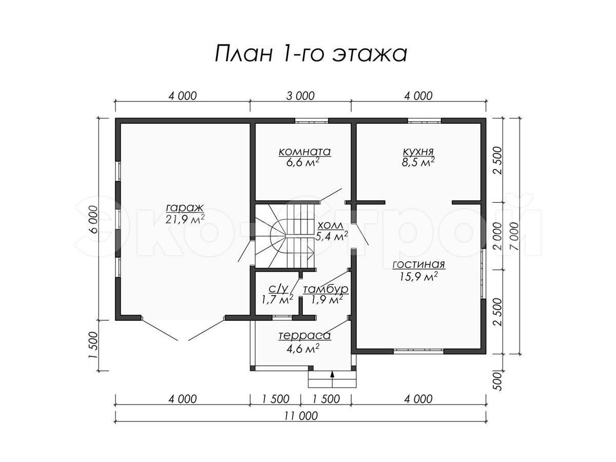 Дом из бруса ДУ 028 план 1 эт