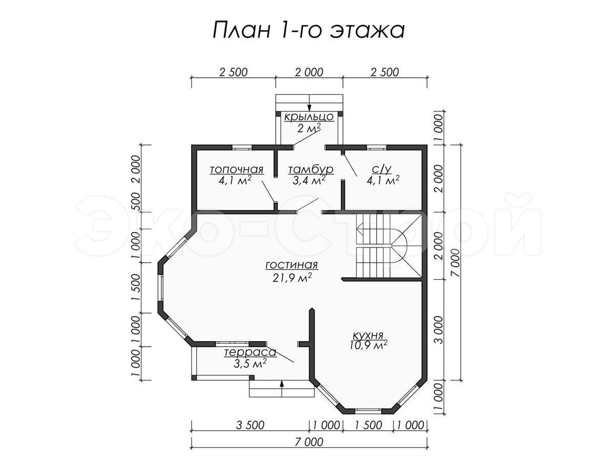 Дом из бруса ДУ 029 план 1 эт