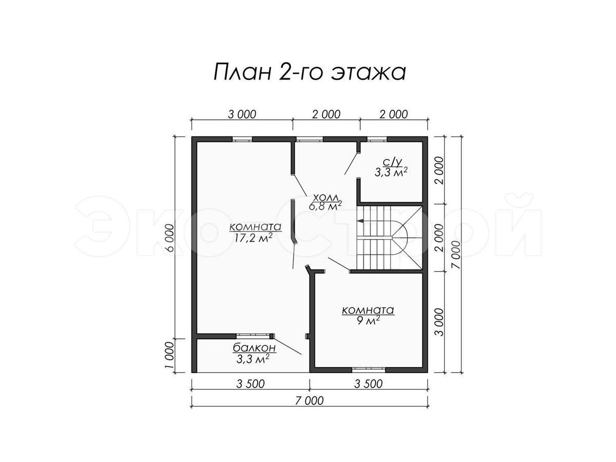 Дом из бруса ДУ 029 план 2 эт