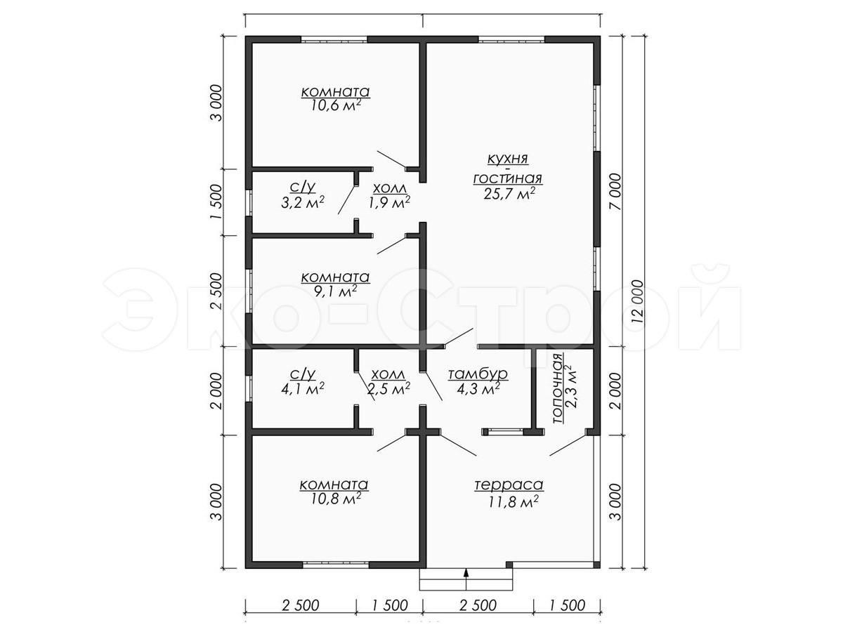 Дом из бруса ДУ 030 план 1 эт