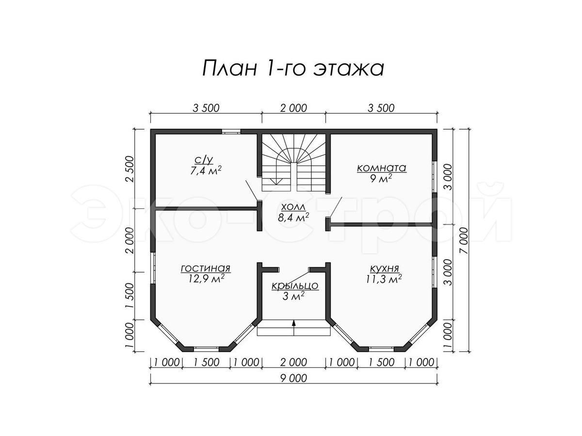 Дом из бруса ДУ 032 план 1 эт
