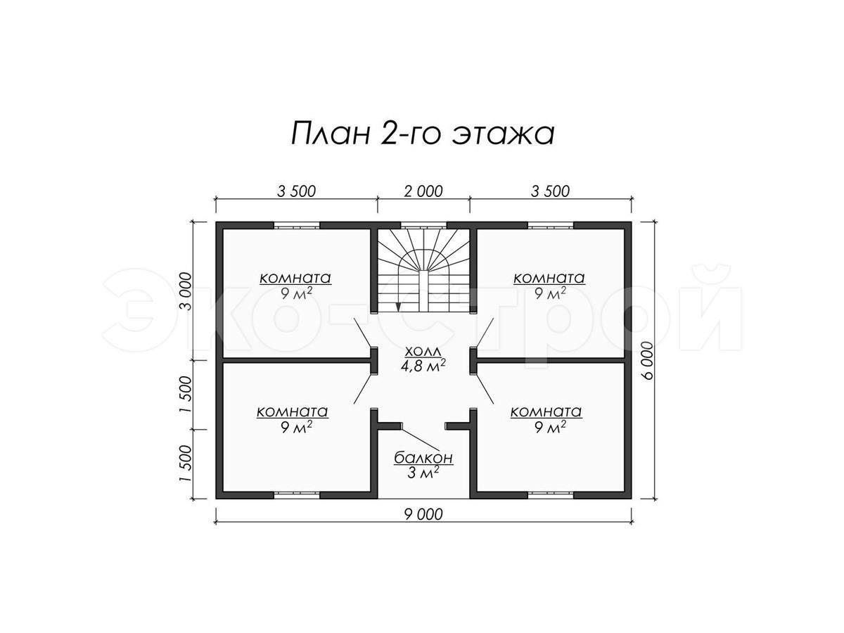 Дом из бруса ДУ 032 план 2 эт