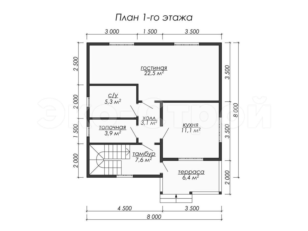 Дом из бруса ДУ 033 план 1 эт