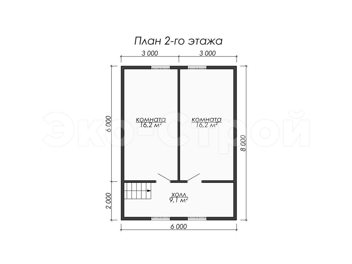 Дом из бруса ДУ 033 план 2 эт