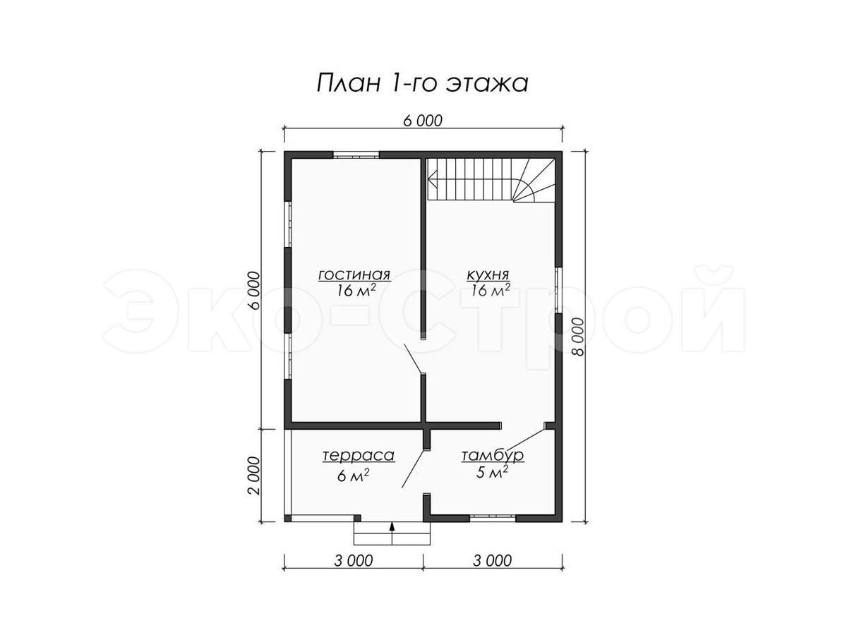 Дом из бруса ДУ 035 план 1 эт