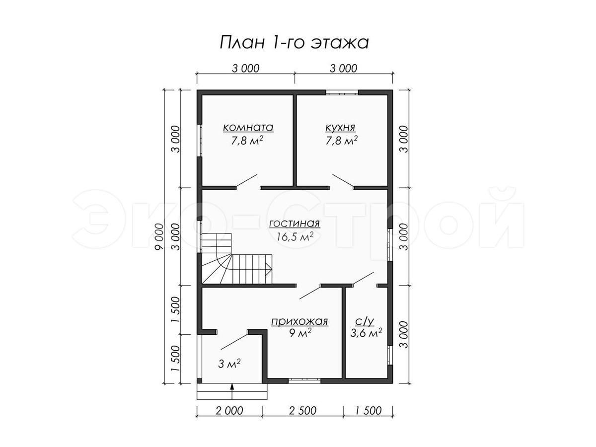 Дом из бруса ДУ 037 план 1 эт