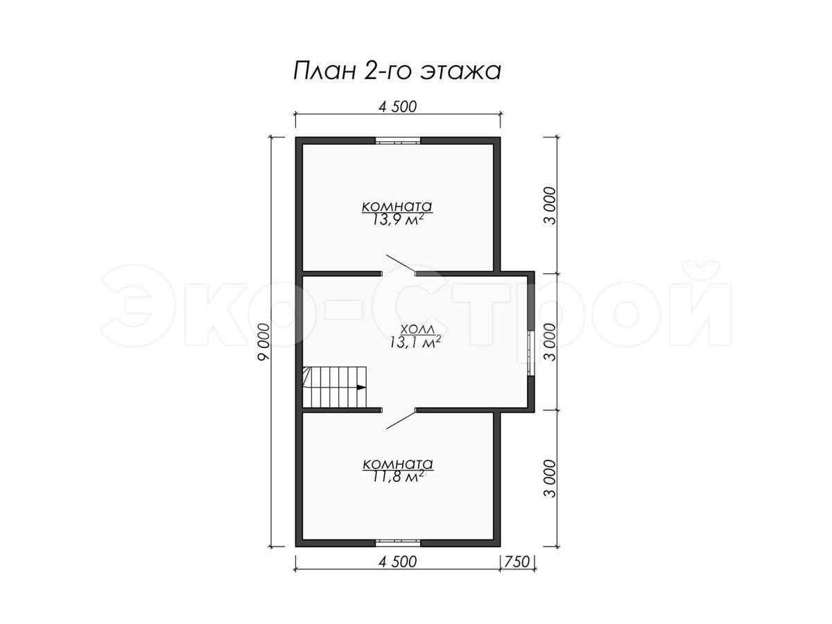 Дом из бруса ДУ 037 план 2 эт
