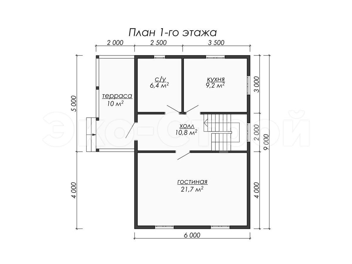 Дом из бруса ДУ 038 план 1 эт