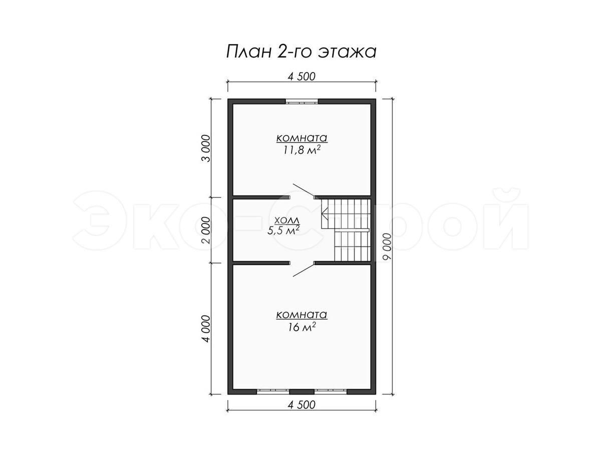 Дом из бруса ДУ 038 план 2 эт