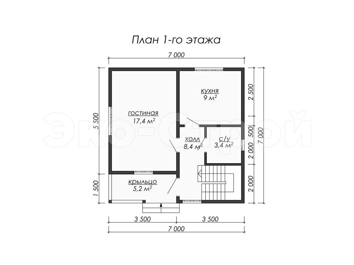 Дом из бруса ДУ 039 план 1 эт