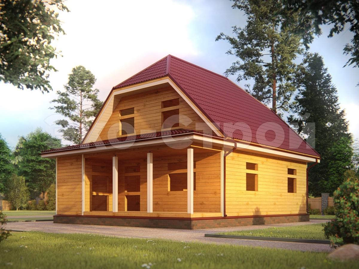 Дом из бруса ДУ 040 под усадку вид 2