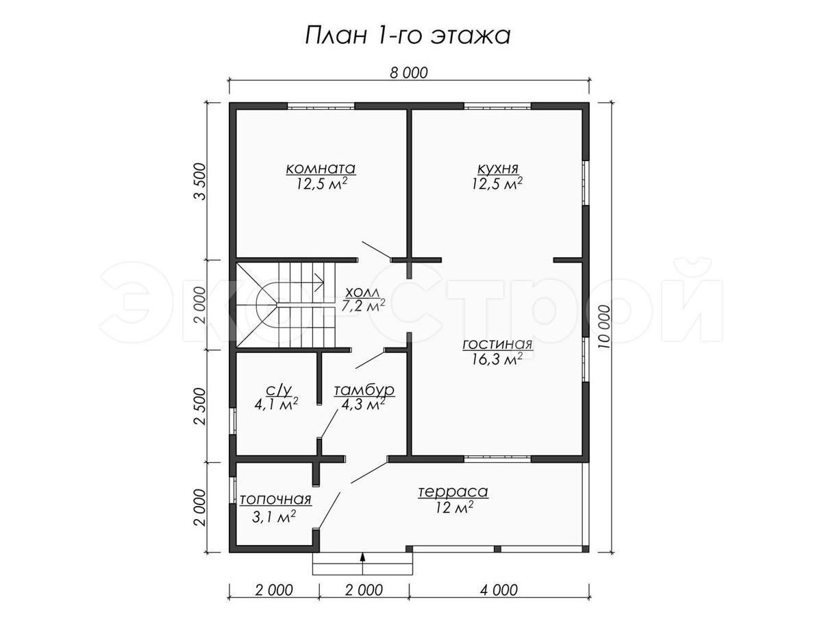 Дом из бруса ДУ 040 план 1 эт