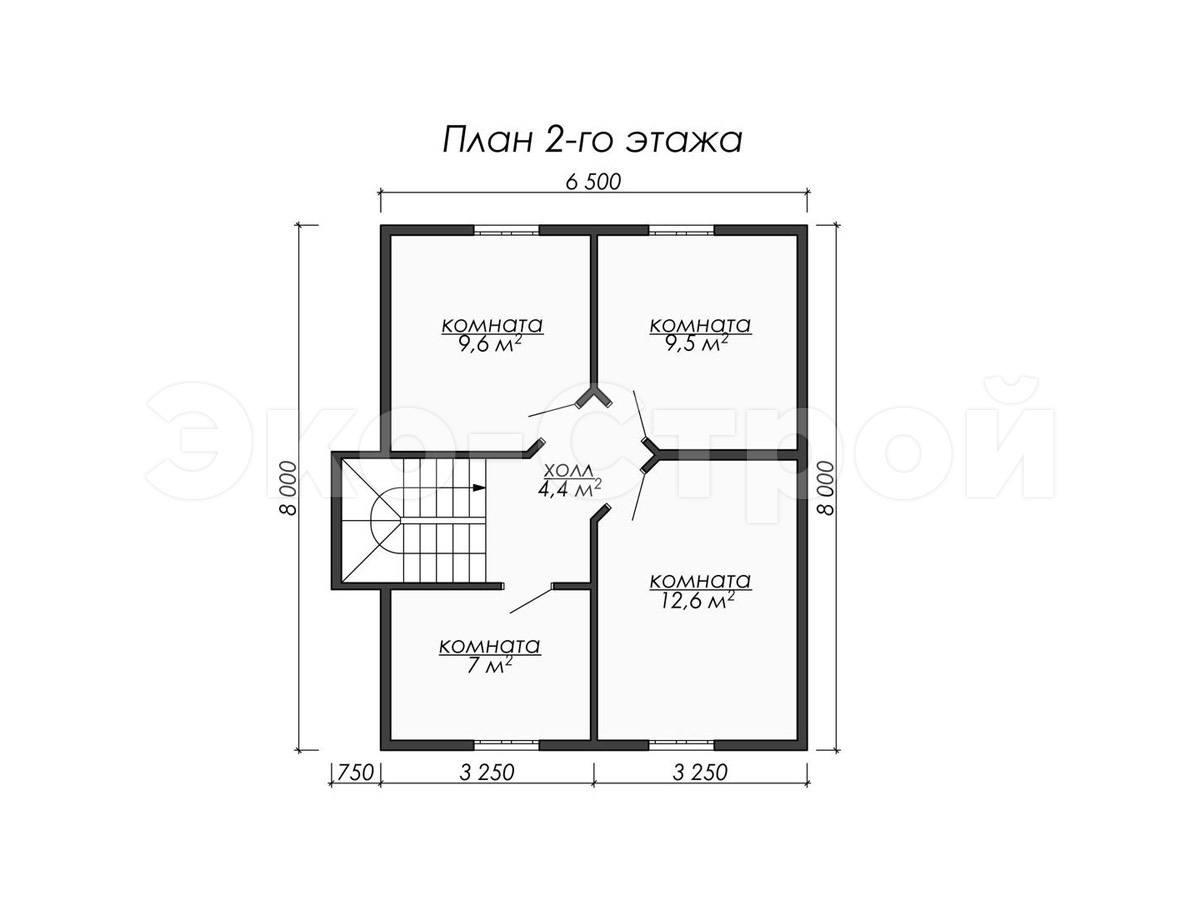 Дом из бруса ДУ 040 план 2 эт