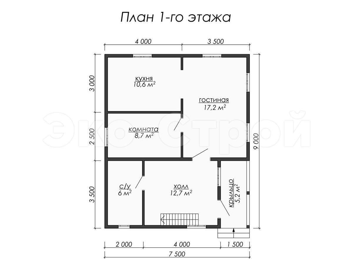 Дом из бруса ДУ 041 план 1 эт