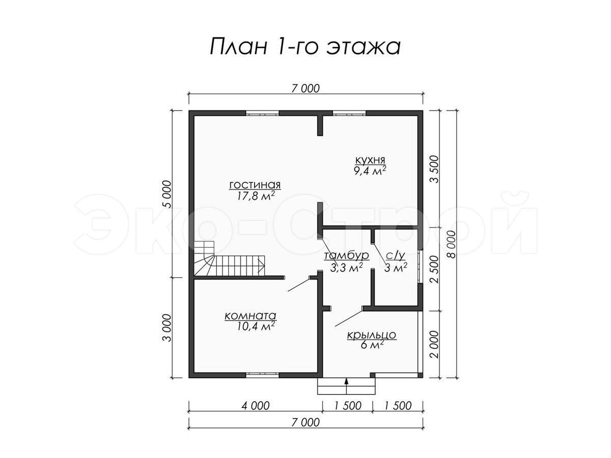 Дом из бруса ДУ 042 план 1 эт