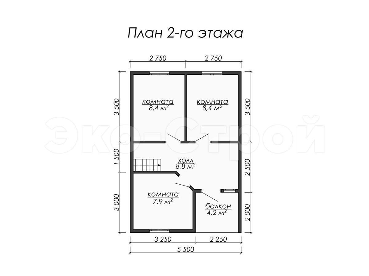 Дом из бруса ДУ 042 план 2 эт