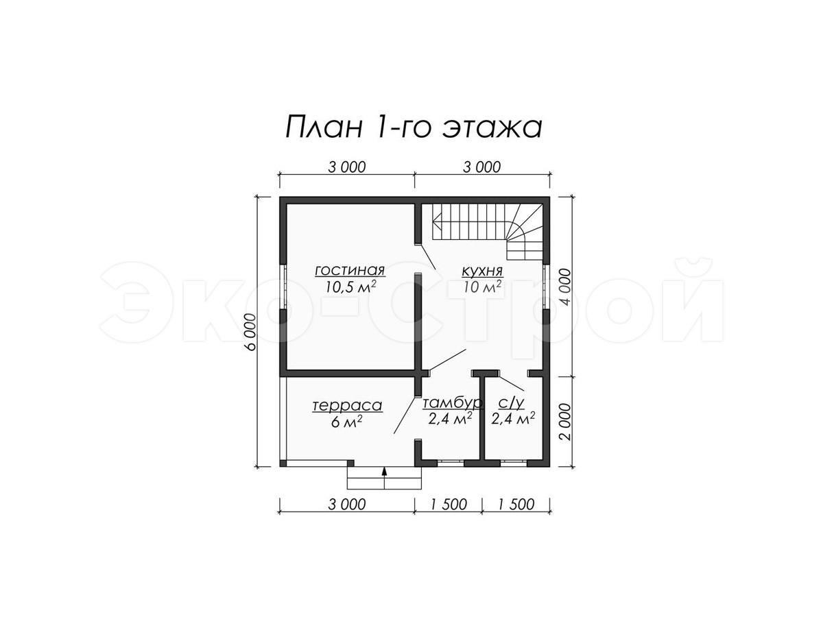 Дом из бруса ДУ 043 план 1 эт