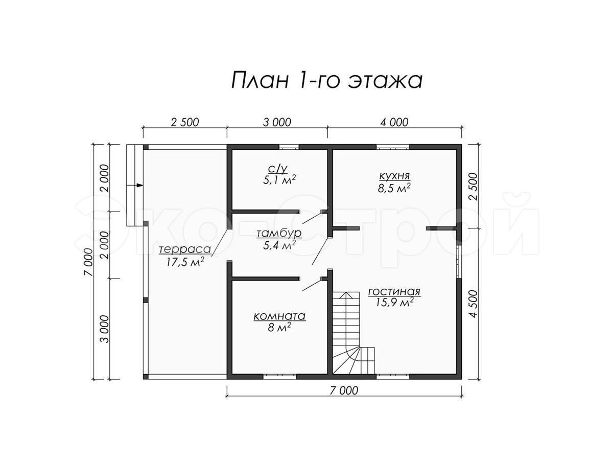 Дом из бруса ДУ 044 план 1 эт