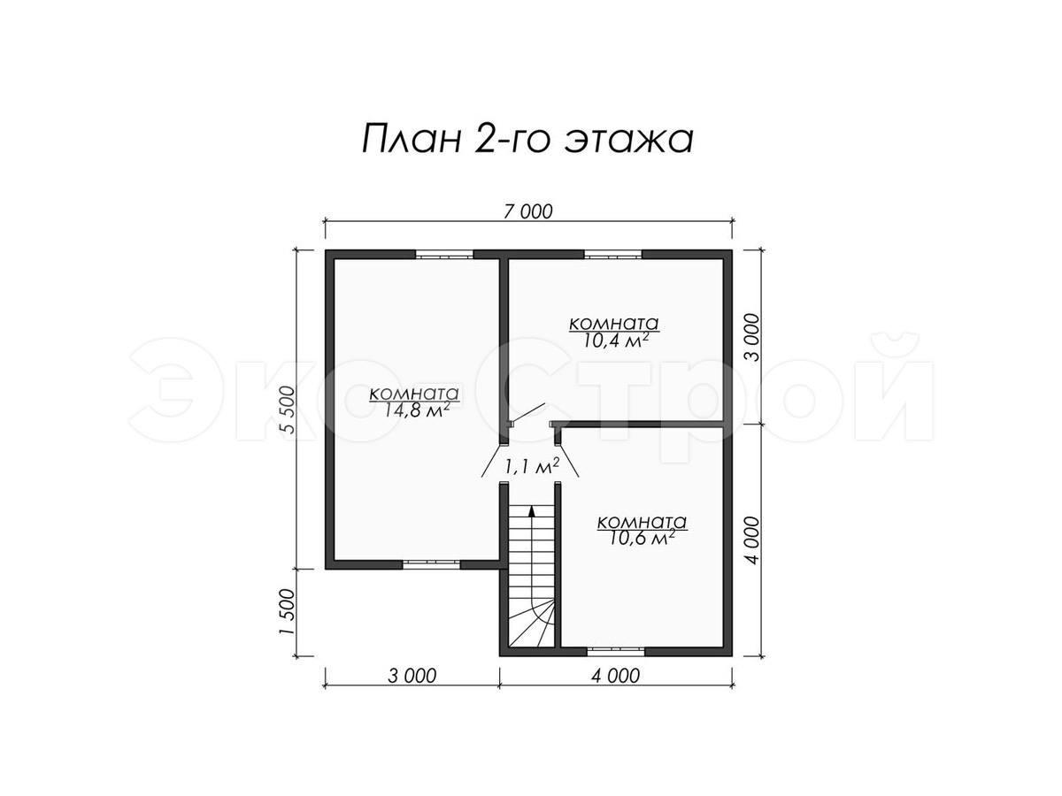 Дом из бруса ДУ 044 план 2 эт