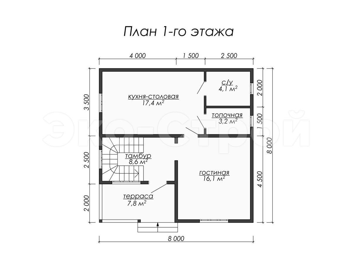 Дом из бруса ДУ 045 план 1 эт