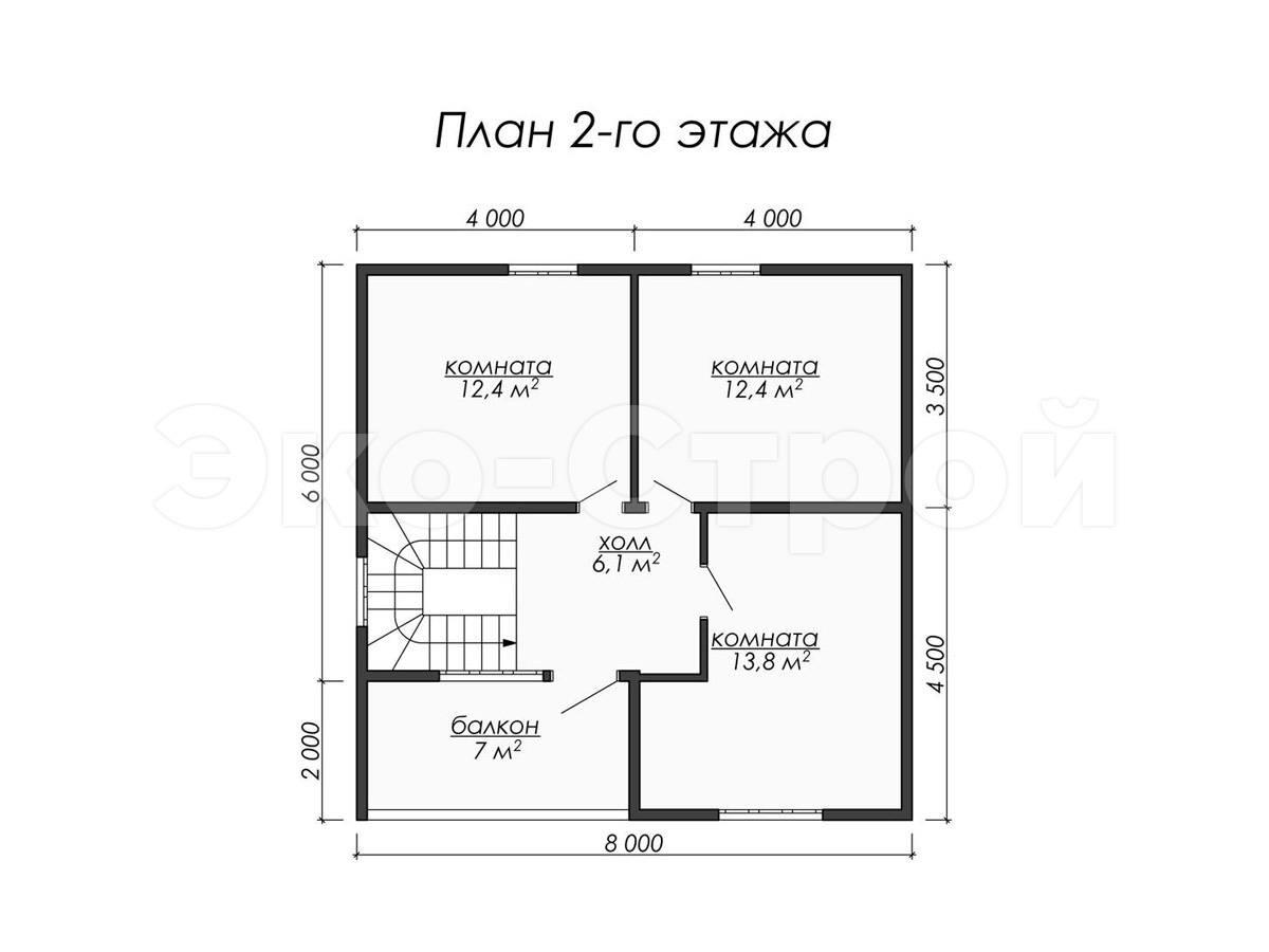 Дом из бруса ДУ 045 план 2 эт