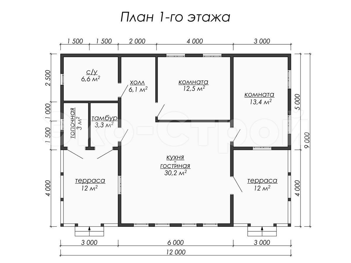 Дом из бруса ДУ 046 план