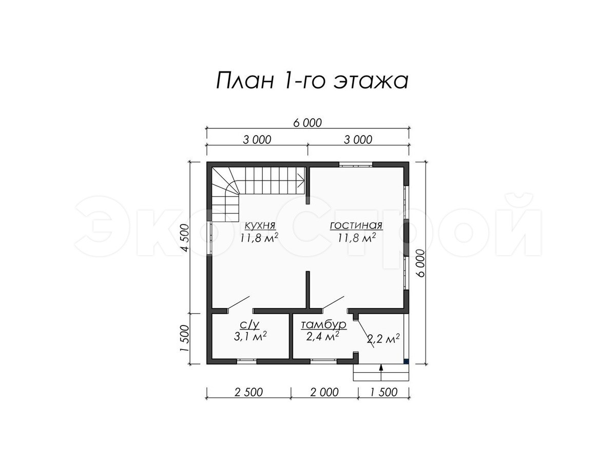Дом из бруса ДУ 047 план1 эт